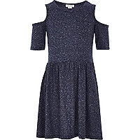 Girls navy flecked plain dress
