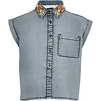 Girls blue denim shirt with lace back