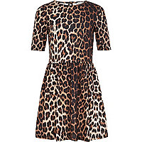 Girls brown animal print Molly dress