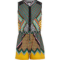 Girls green aztec print playsuit