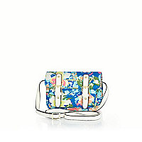 Girls blue floral satchel bag