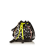 Girls black leopard print duffel bag