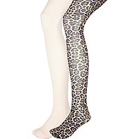 Girls pale pink and leopard print tights.