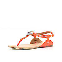Girls orange T bar embellished sandals