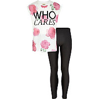 Girls pink who cares t-shirt and leggings set