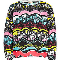 Girls pink print aztec jumper