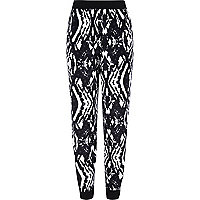 Girls black aztec print joggers