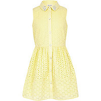 Girls yellow embroidery dress