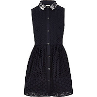 Girls navy embroidery dress