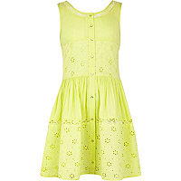 Girls lime embroidered smock dress