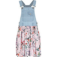 Girls blue tropical skirt dungaree dress