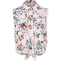 Girls pink floral tie up shirt