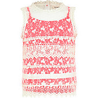 Girls cream lace fluro cami top