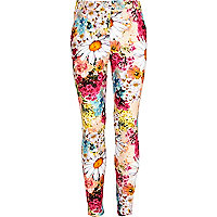 Girls pink floral print capri trousers