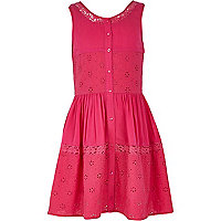 Girls pink embroidered smock dress