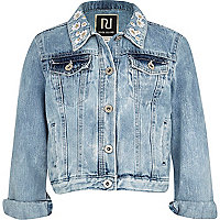 Girls light blue bleach daisy denim jacket