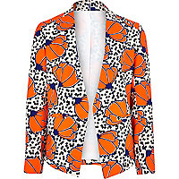 Girls orange polka dot floral blazer