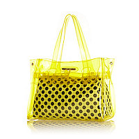 Girls yellow jelly shopper bag