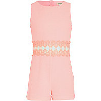 Girls pink crepe playsuit