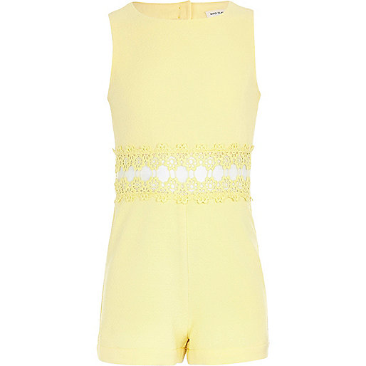 Girls yellow crepe romper