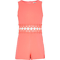 Girls fluro pink crepe playsuit