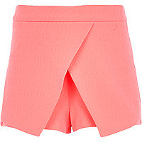 Girls fluro pink crepe skort