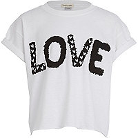 Girls white love print t-shirt