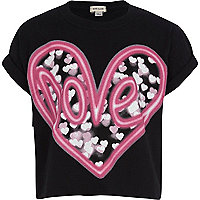 Girls black love print t-shirt