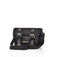 Girls black gem embellished satchel