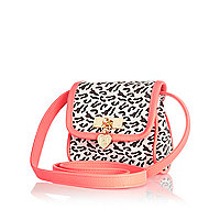 Girls white leopard print crossbody bag