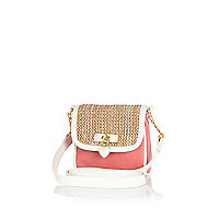 Girls pink straw crossbody bag