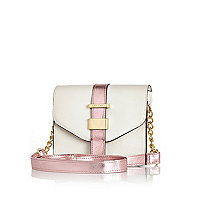 Girls white and pink crossbody bag