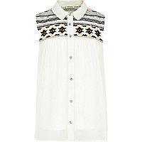 Girls cream embellished blouse