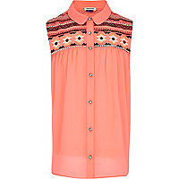 Girls fluro coral embellished blouse
