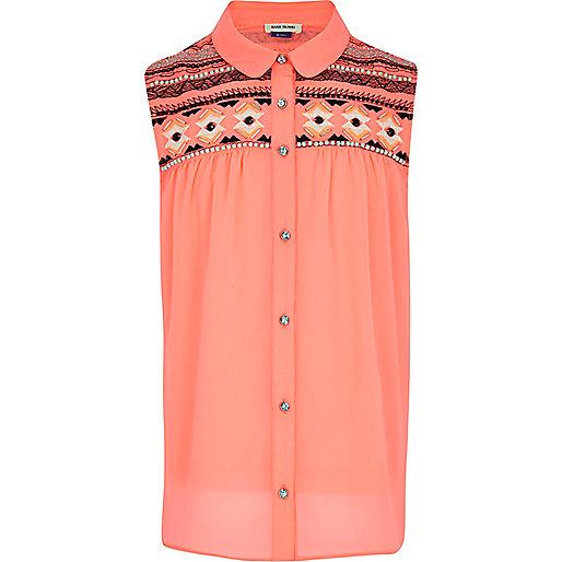 Girls fluro coral embellished blouse