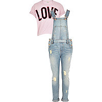 Girls pink t-shirt and denim dungaree set