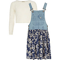 Girls denim dungaree dress and lace top set