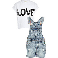 Girls white t-shirt and denim dungaree set