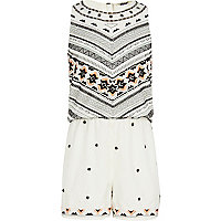Girls cream bead embellished playsuit