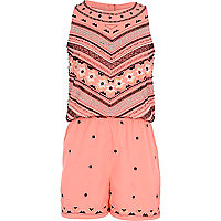 Girls coral fluro beaded playsuit