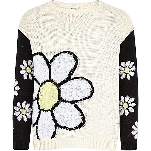 Girls cream daisy colour block jumper