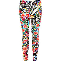 Girls floral and geo print leggings