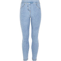 Girls light acid wash denim jeggings