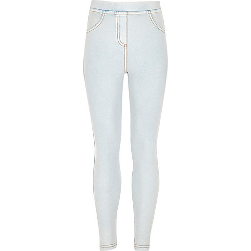 Girls light blue denim look leggings