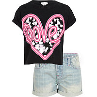 Girls black love t-shirt and shorts set