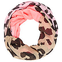 Girls pink dip dye leopard print snood