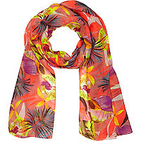 Girls orange tropical print scarf