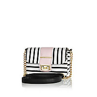 Girls white stripe satchel