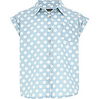 Girls light denim spot print jean shirt