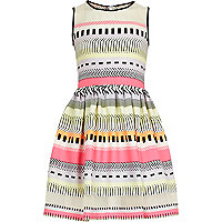 Girls pink fluro aztec print prom dress